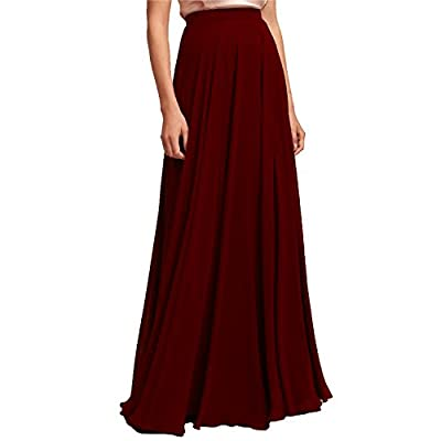 karever Chiffon Bridesmaid Dresses Long Woman Maxi Skirt Beach Blush