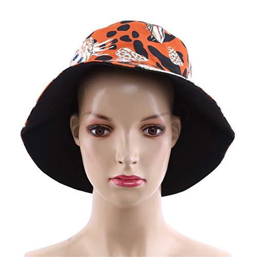 Orange ZALING Women Cotton Cat Print Bucket Hat Fisherman Hat Outdoor Travel Hat Sun Cap Black