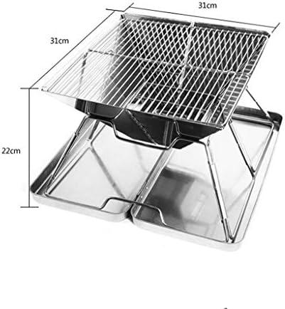 ZHIJINGKEJI en Plein air Barbecue Grill, Barbecue Accessoires Pliable Barbecue Poêle Charbon Barbecue Non Stick extérieur