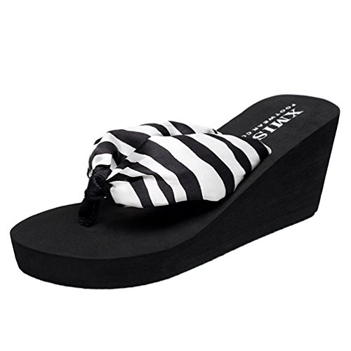 YOUJIA Damen Zehentrenner Sommer Keilabsatz Strandschuhe Satin Boho Platform Slipper (Zebra, EU 37)