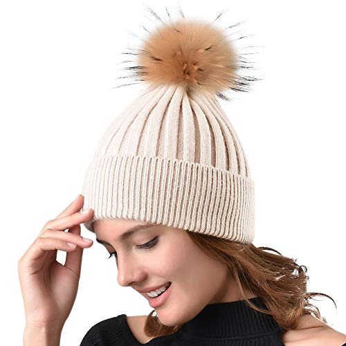 Womens Winter Knit Beanie Hats Real Fur Pom Cashmere Blended Skull Cap Ski Hat