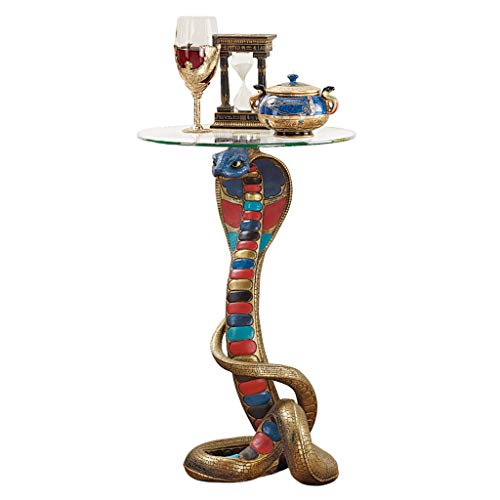 - Design Toscano Renenutet Egyptian Cobra Snake Goddess Side End Table, 24 Inch, Polyresin with Glass Top,