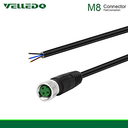 VELLEDQ Industrial Pre-Wired M8 Connector Cable 3-Pin Female A-Coding 3M/10FT PVC Line ()