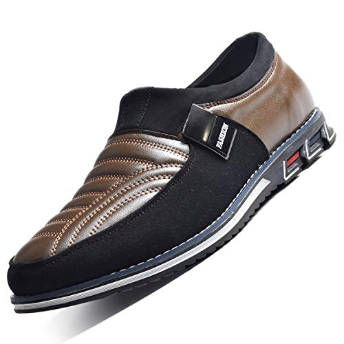 COSIDRAM Men Casual Shoes Sneakers Loafers Breathable Comfort Walking Shoes Fashion Driving Shoes Luxury Black Blue Leather Shoes for Male Business Work Office Dress Outdoor