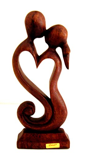 - OMA Love Kiss Passion Heart Statue Bali Abstract Art Wood Statue - Collector's Quality BRAND