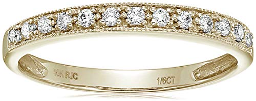 Vir Jewels 1/6 cttw Petite Diamond Wedding Band in 10K Yellow Gold In Size 6 ()