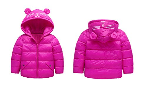 Winter Blue Girls 3 4T Warm Outwear Royal Down Jacket Hoodie Size Ear Baby Baby red Light Fairy Kids Coat Boys qwpAWx