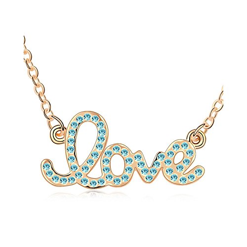 Gorgeous Jewelry Blue Crystal Forever Love Pendant Diamond Accented Letter Gold Plated Women Necklace