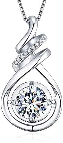 VAN RORSI&MO 2.0 Carats Sterling Silver ''Love you for a Long Time'' Round Cut Cubic Zirconia Pendant Necklaces for Women-18''