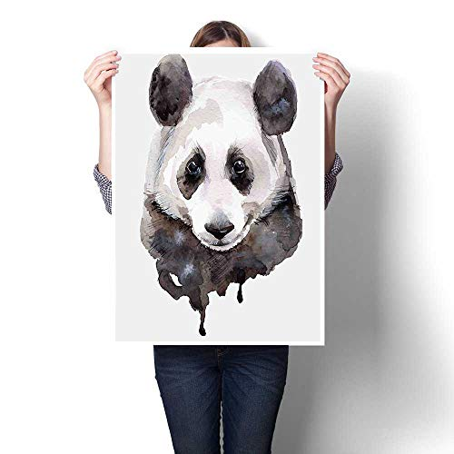 Oil Painting on Canvas Prints,Cute Panda Bear Animal Asian Wildlife Zoo Theme Artwork Image Beige White and Oils,Wall Art,32