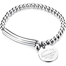 "COCO Park Stainless Steel Bead Ball Chain Craved ""Eternal Love"" Charm Pendant Lady Bracelet 6 2/8 Inch"