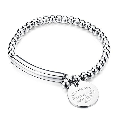 COCO Park Stainless Steel Silver Bead Ball Chain Cuff Wristband Charm Pendant Lady Bracelet 6 2/8 Inch