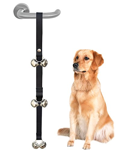 Dog And Bell - CandyHome Potty Doorbells Housetraining Dog Doorbells Tinkle Bells for House Training, Dog Bell with Doggie Doorbell, Easy 95% Success Rate, Black