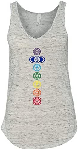 Yoga Clothing For You Ladies Colored Chakras Flowy V-Neck Tank Top