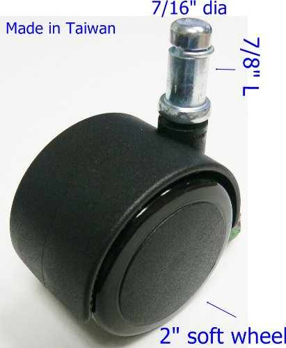 Oajen 2'' 50mm soft wheel chair caster with 7/16'' x 7/8'' or 11mm x 22mm grip ring, pack of 5