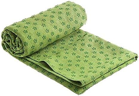 IAMZHL Yoga Mat Toalla Antideslizante Manta de algodón Alfombra Toalla de Resina Punteada Toalla Absorbente de Sudor para Deporte Fitness Ejercicio Pilates Suministros -Green 183x63cm: Amazon.es: Deportes y aire libre