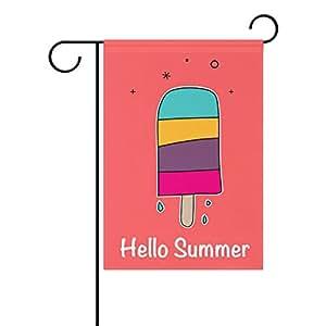 Duble cara Hand Drawn Colorful Hello Summer deliciosa comida helado Popsicle poliéster casa jardín bandera Banner 12x 18/28x 40pulgadas para todo tipo de clima para boda fiesta