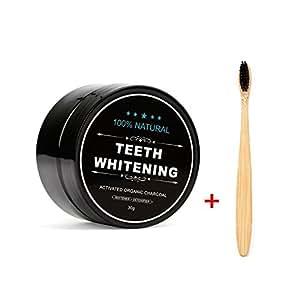 Teeth Whitening Charcoal Powder, Natural Activated Charcoal Teeth Whitener Powder with Bamboo Brush Oral Care Set (1.05 oz)