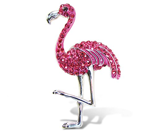 Puzzled Pink Flamingo Rhinestone Crystals Refrigerator Magnet, 2.5 Inch Functional Decorative Fridge Accent for Notes, Memos, Photos, Excellent Gift & Souvenir Tropical Bird Themed Kitchen Accessory