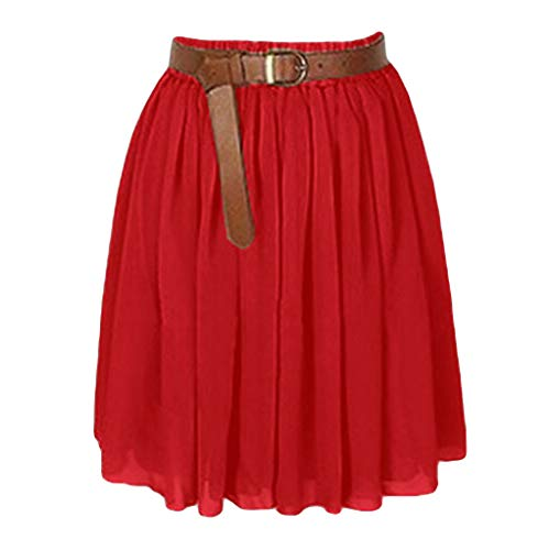 Women Mini Skirt, Clearance Lady Chiffon Short Dress Pleated Retro Elastic Waist Skirt Solid Color Pleated Bust Skirt lkoezi