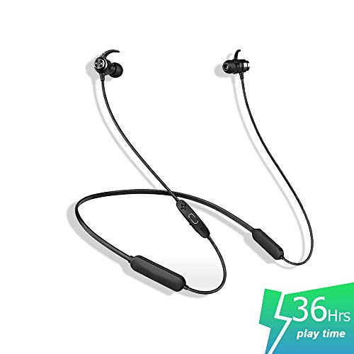 SLUB True Wireless Bluetooth Waterproof Sport HD Stereo Neckband Headphones with Mic 36H Play time Sweatproof for Cell Phone Double Battery Earbuds for iPhone/Android (Black)
