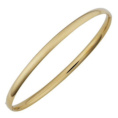 Kooljewelry 14k Yellow Gold 4 mm High Polish Hinged Bangle Bracelet