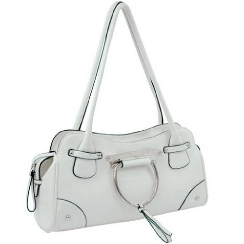 Women Soft Leather Like Shoulder Bag White, Bags Central