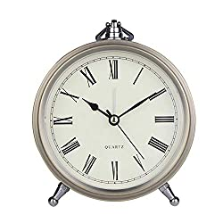 Maxspace Golden Desk Clock, Retro Vintage Non-Ticking Battery Operated Small Alarm Clock, Quartz Movement HD Glass Metal Silent Table Clock for Bedroom Living Room Indoor Decoration Kids (Roman)