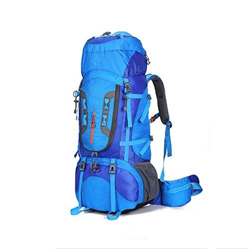 キャンプ用バックパック 大容量登山バッグプロフェッショナルアウトドアバッグハイキングリュックサックバックパック防水調節可能なショルダーストラップ80L 軽量 (色 : 青) B07R9JZ8CC 青