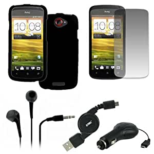 EMPIRE HTC One S Rubberized Case Cover (Black) + 3.5mm Stereo Earbud Headphones (Black) + Screen Protector + Retractable Car Charger + Retractable USB 2.0 Data Cable [EMPIRE Packaging]