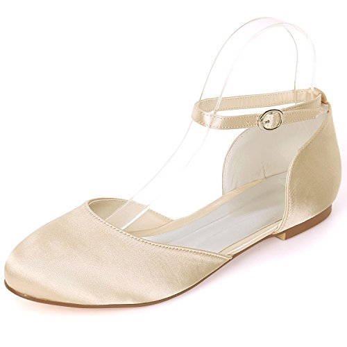 L@YC Women Wedding Shoes Buckle Mid Heels Satin Handmade 0.6cm Heel Evening Autumn Fashion Champagne