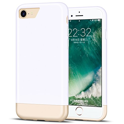 iPhone 7 Case, K-MOZE iPhone 7 Case Protective SOFT-Interior Scratch Protection Metallic Finished Base with Slider Style Case for iPhone 7 - white/Gold