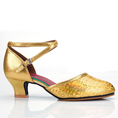 Dance Strap Heeled Dance Samba Shoes Leather Dance Jazz Leather Onecolor Shoes Women's 3 BYLE Gold Shoes high Bottom Adult 5CM Bottom Latin Modern Ankle Sandals Soft ZwIWxtcvqH