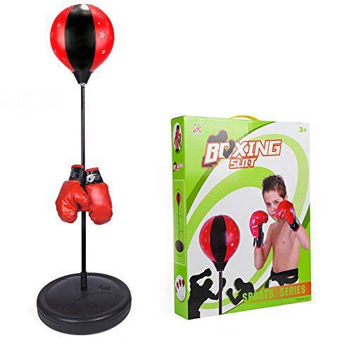 ToyVelt Boxing Set With Punching Ball + Hand Pump + Boxing Gloves - Height Adjustable Base, Easy Setup & Portable...