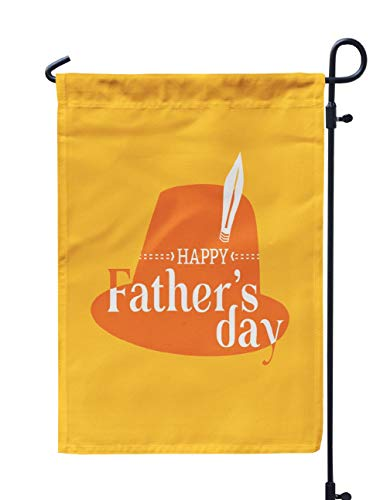 (Soopat Dad Seasonal Flag, Happy Father Day Flat Minimal Simple Style Greeting Weatherproof Double Stitched Outdoor Decorative Flags for Garden Yard 12''L x 18''W Welcome Garden Flag)