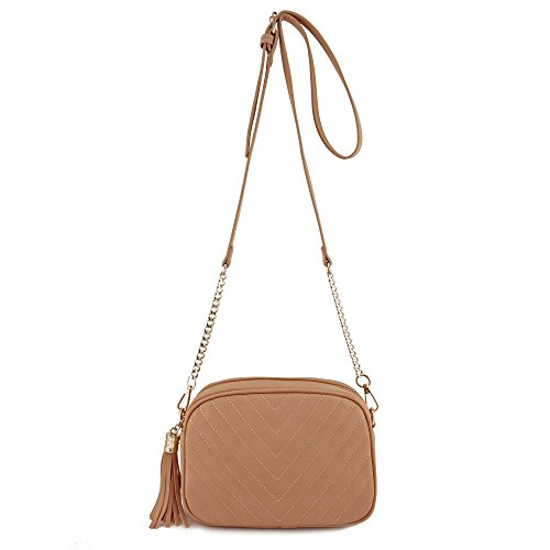 Simple Shoulder Crossbody Bag With Metal Chain Strap And Tassel Top Zipper (Blush) (Bag Womens Metal)