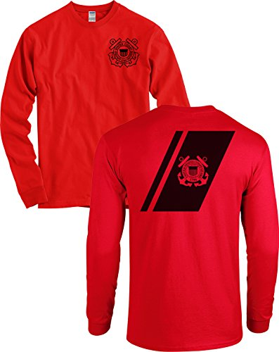 Coast Guard Stripe (USCG US Coast Guard Racing Stripe Front & Back Red Long Sleeve Shirt USA (Red, Large))