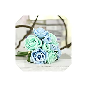 meet-you Wedding Bouquet Polyester Roses Holder Wedding Flowers Bridal Bouquets Artificial Bridesmaids Accessories Wedding Bouquet,Blue Bouquet 108