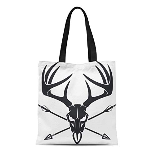 Semtomn Canvas Bag Resuable Tote Grocery Adorable Shopping Portablebags Red Deer Whitetail Buck Skull with Crossing Hunting Arrows Antler Head Stag Elk Natural 14 x 16 Inches Canvas Cloth Tote Bag
