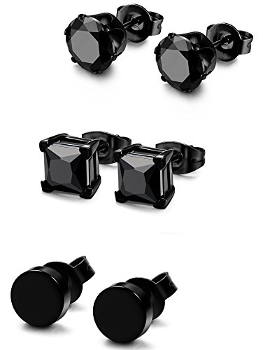 FIBO STEEL 3 Pairs Stainless Steel Black Stud Earrings for Men Women CZ Earrings, 6mm