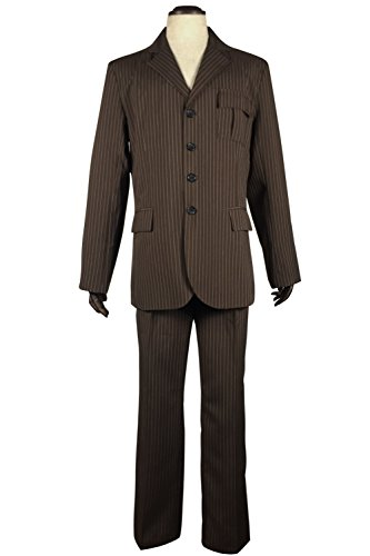 [Cosplaybar Dr Brown Pinstripe Suit blazer pants Halloween Cosplay Costume Female XS] (Tenth Doctor Dress)