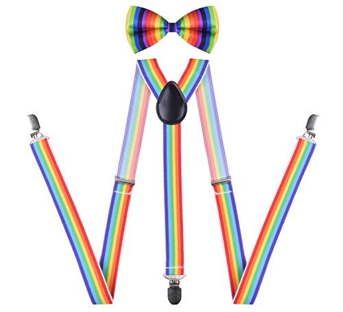 Bow Tie With Suspenders Cute Suspender Outfits Solid Color for Men Rainbow (Suspenders Rainbow)