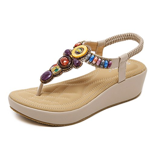 Meeshine Womens Wedge Sandals Thong Platform Beaded Slingback Bohemia Summer Sandal Apricot-04 5.5 US (Slingback Platform Wedge)