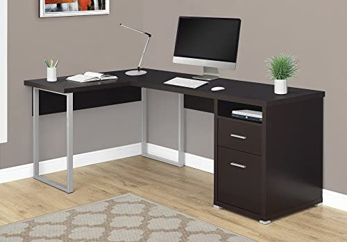Monarch Specialties Computer Desk L-Shaped Corner Desk with File Cabinet – Left or Right Set- Up – 80 L Cappuccino