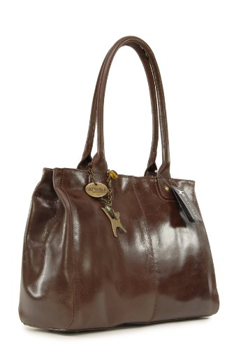 Marrón Cuero vintage Grande de CATWALK KENSINGTON hombro COLLECTION estilo shopper Bolso nxBvSwUqx