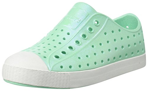 Tot Tiny Toddler - Native Kids Iridescent Jefferson Water Proof Shoes, Glass Green/Shell White/Galaxy Iridescent, 5 Medium US Toddler