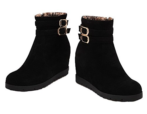 Top Low Black AgeeMi High Closed Toe Suede Round Shoes Women Heels Zipper Boots vT7wTqz