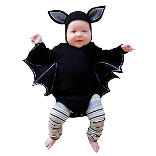 FEITONG Baby Boys Girls Halloween Cosplay Costume Bat Sleeve Romper + Cartoon Ear Hat Outfits Set (Black, 12-18M) -