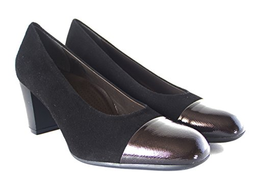Cinzia Decollete Elegant Soft Chamois leather, patent leather Heel Stiletto 6 cm, comfort Black