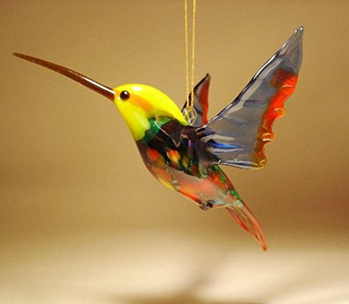 (Red and Blue with Yellow Head Glass Bird Hummingbird Figurine Ornament)